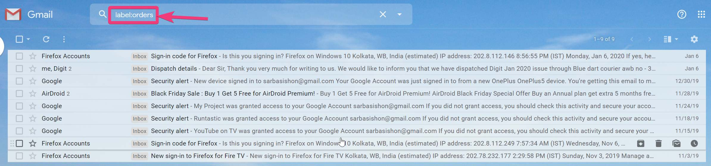 Add labels to emails on Gmail 80