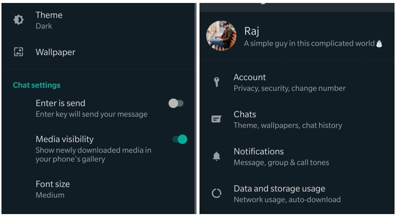 Black theme of WhatsApp messenger