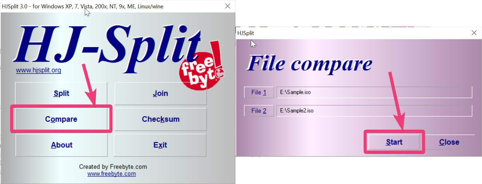 'File 1' and 'File 2'