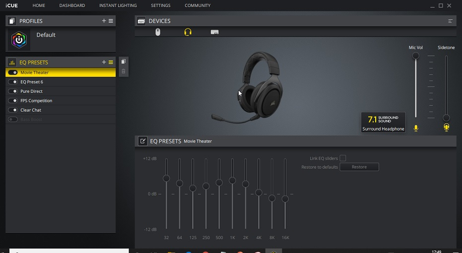 Corsair HS70 iCUE Software and Equalizer
