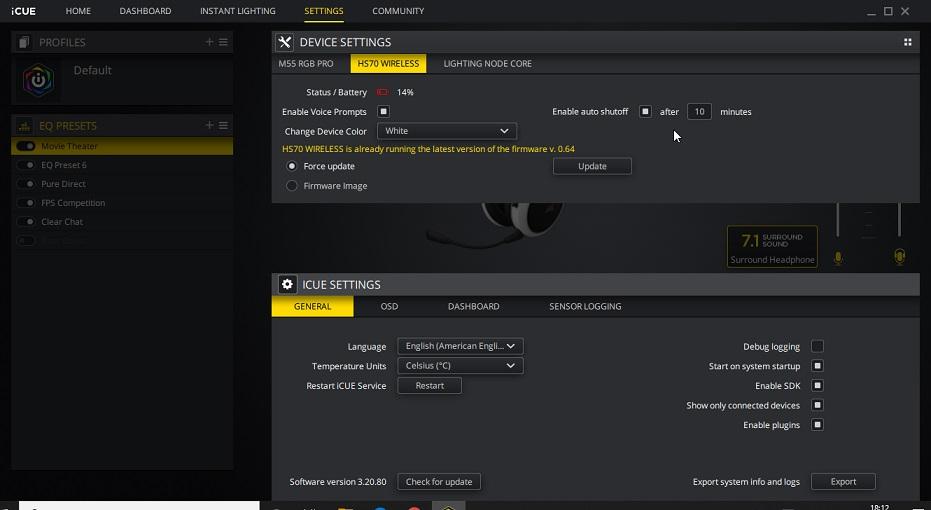 Corsair iCUE software settings