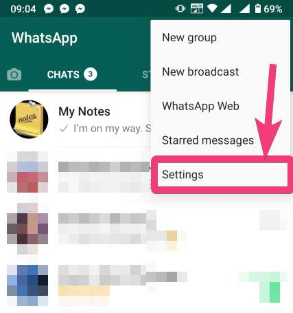 Whatapp settings