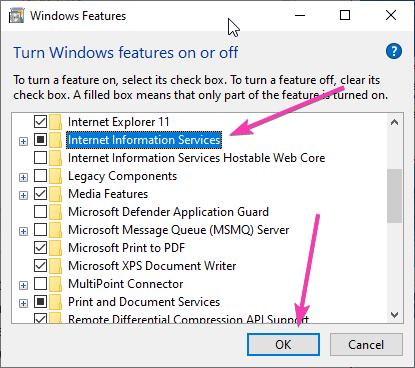 Enable Internet Information Services -IIS on Windows 10