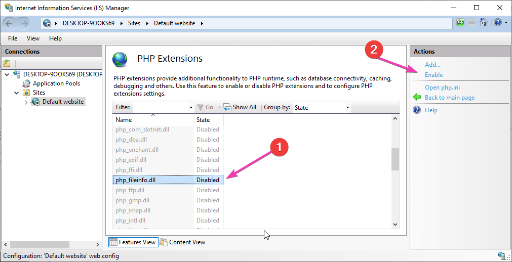 Enable PHP file info extension-min