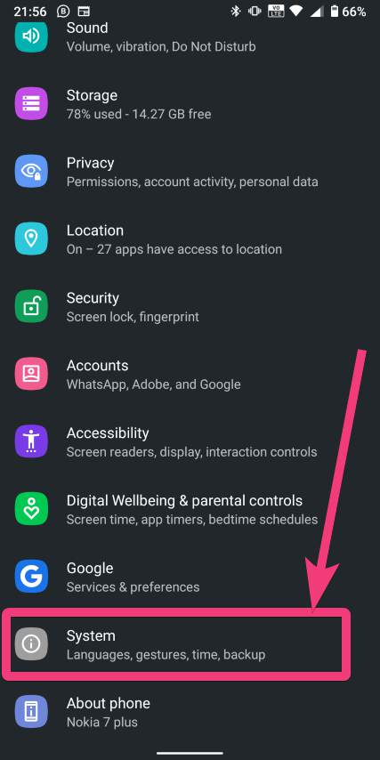 Go to Android 10 system settings