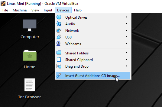 Install Guest addtions