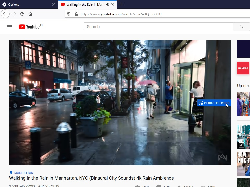 Mozilla FireFox Picture in Picture mode Linux and macOS