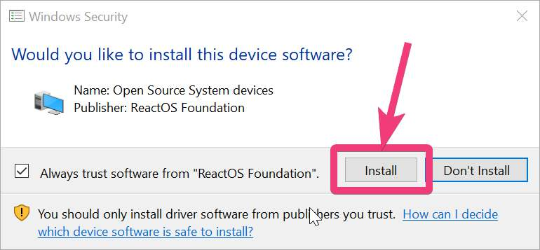 Allow trust software from ReactOS foundation