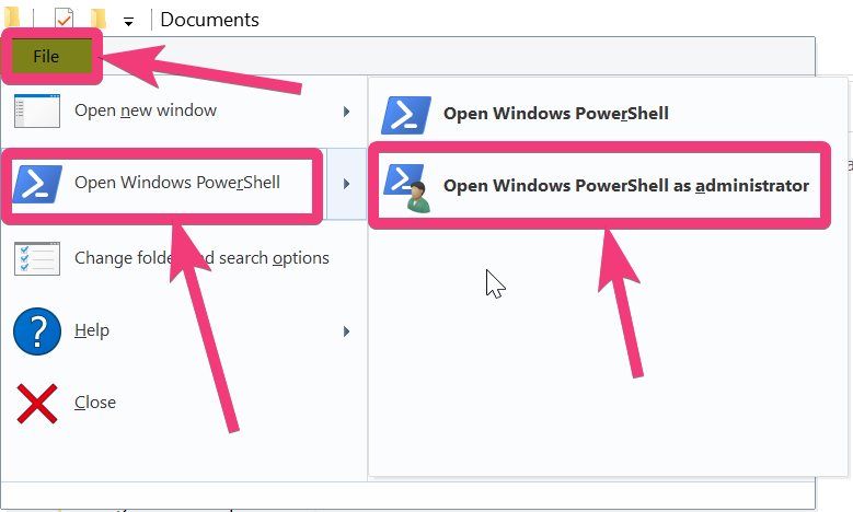 open the directory or folder where you want to open PowerShell