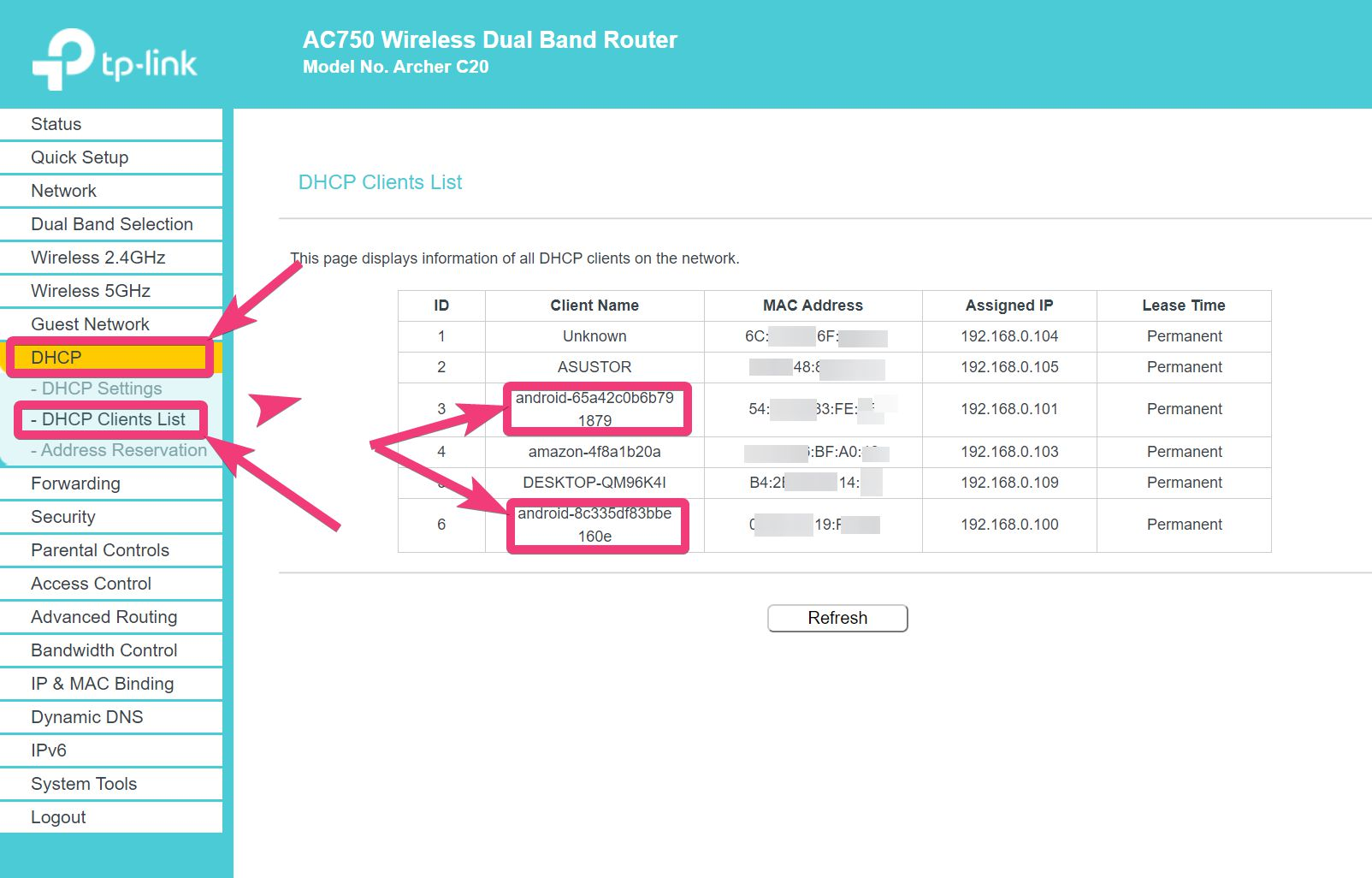 IP address reserve in router