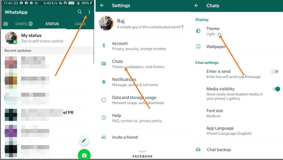 Set Dark Mode theme on WhatsApp