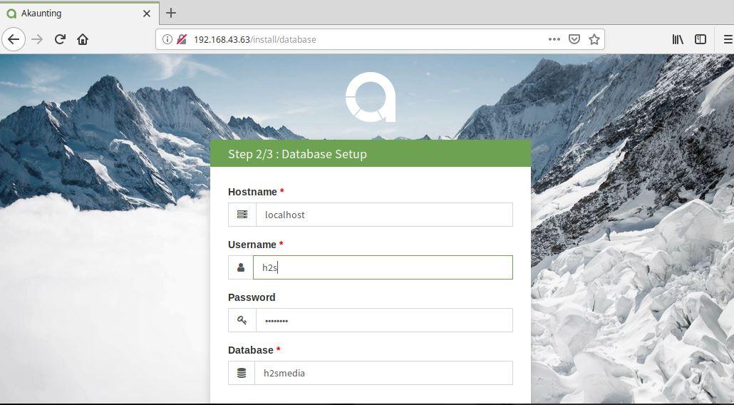 Setup Akaunting database