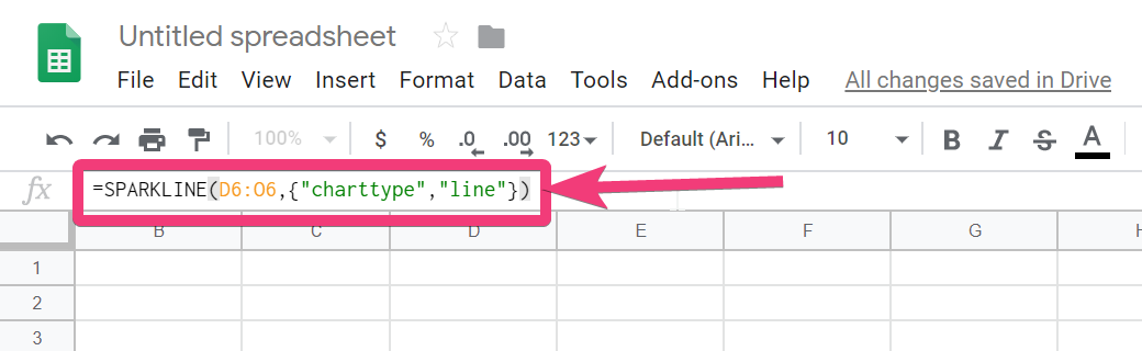 create a column-based sparkline in Google sheets