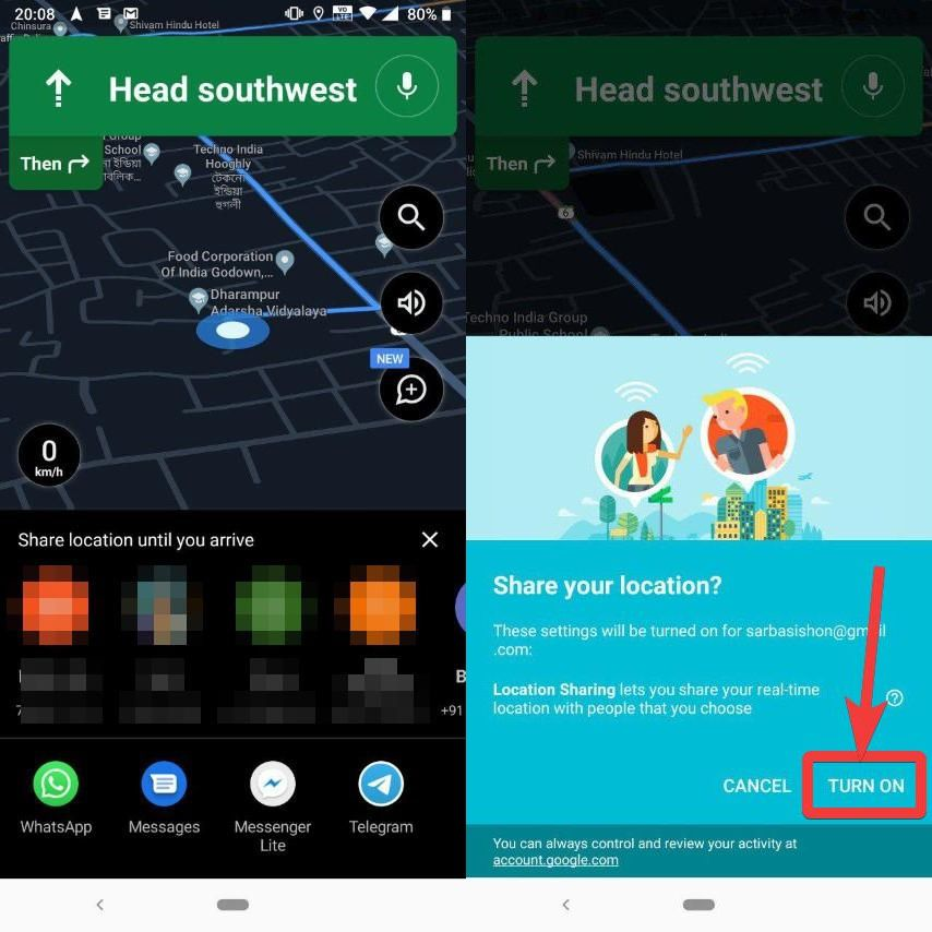 enable location sharing Google maps