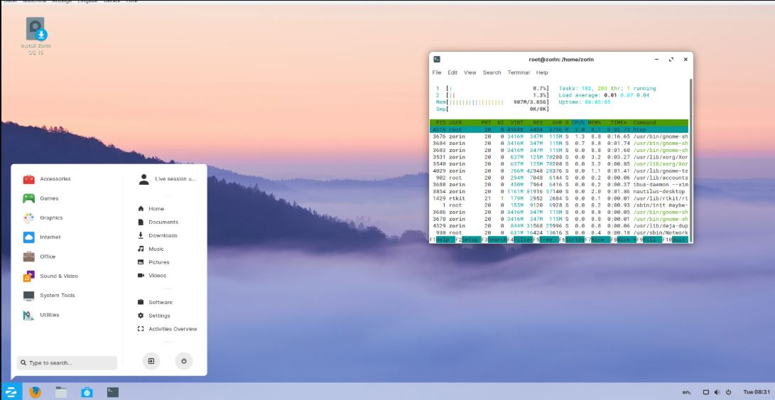 Zorin OS Linux with Windows 10 like interface