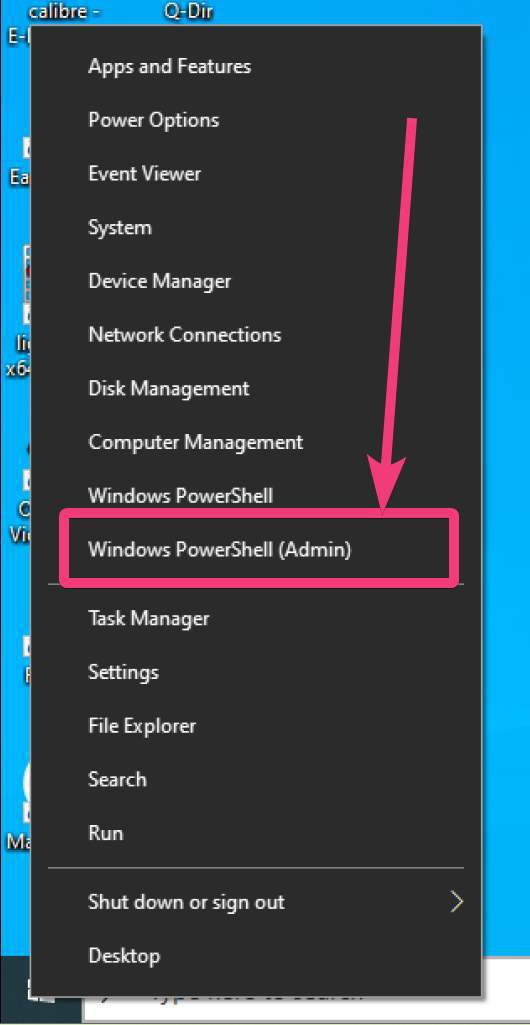 open Windows PowerShell (Admin)