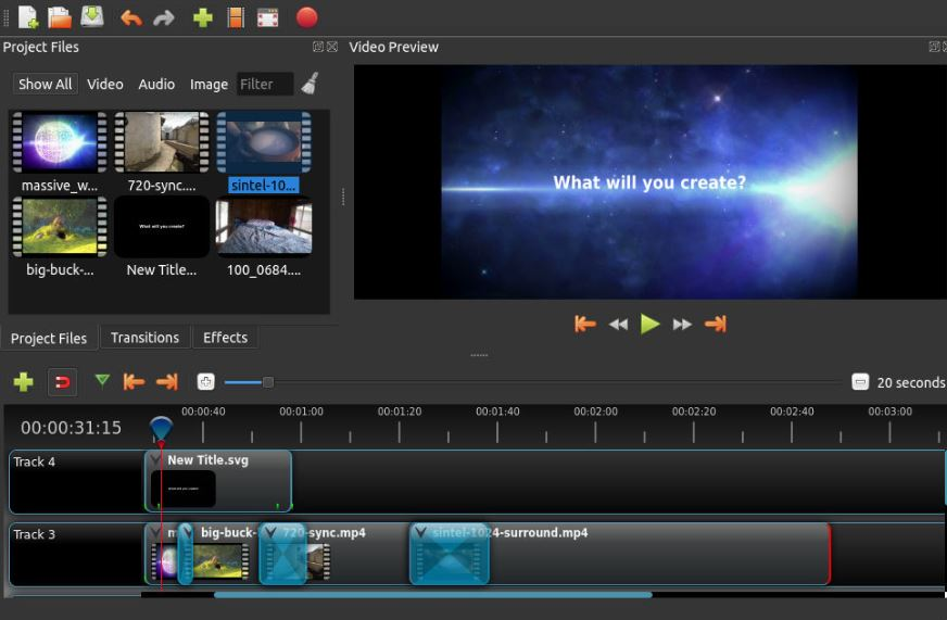 free and open source program -OpenShot Video Editor