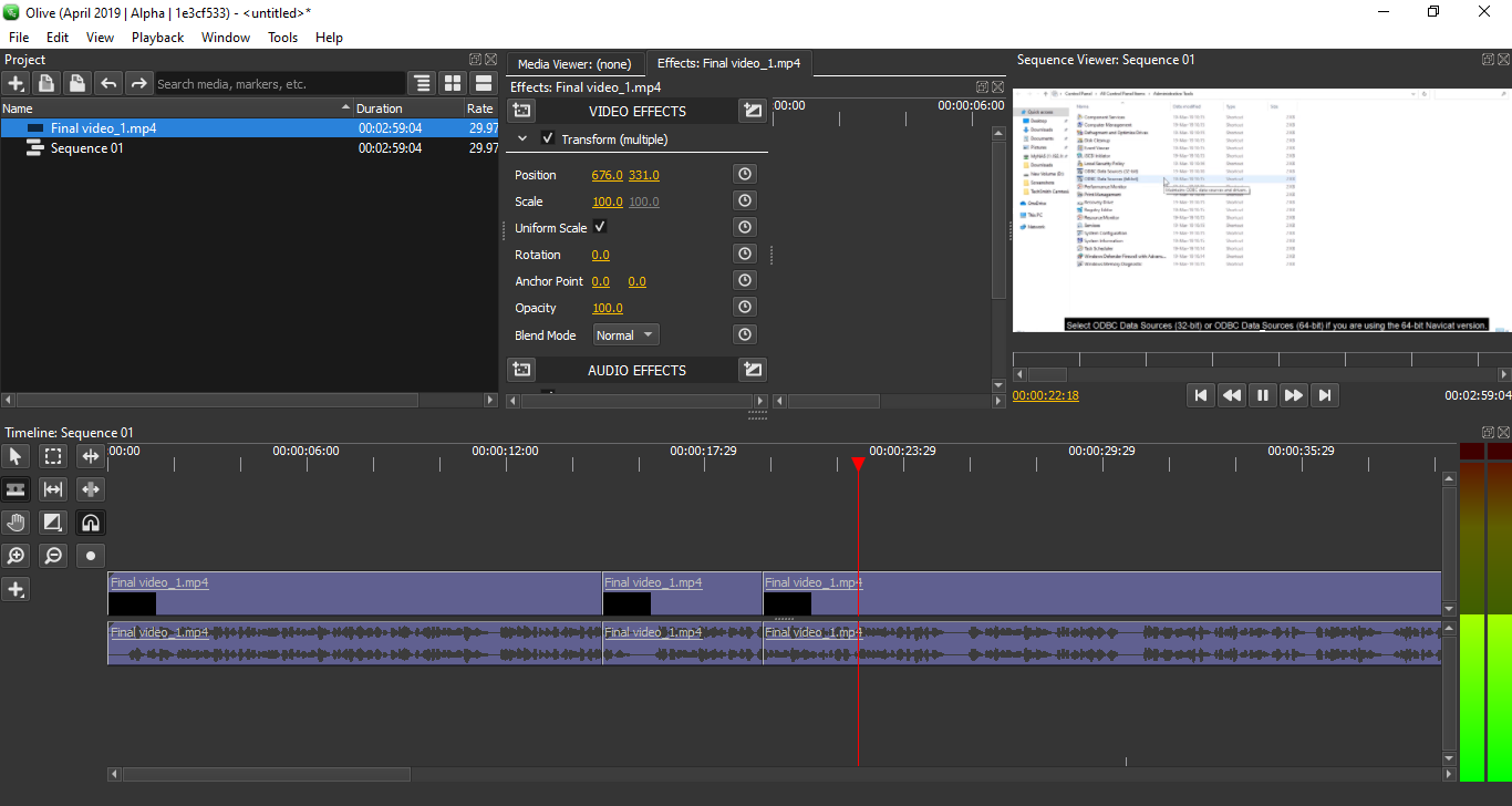 olive-non linear video editing tool alternative to Adobe premiere