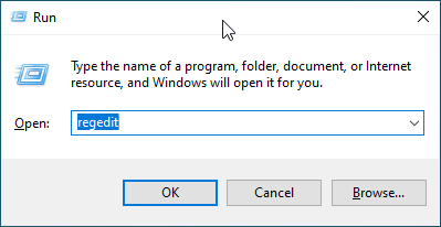 Open Regedit in Windows 10
