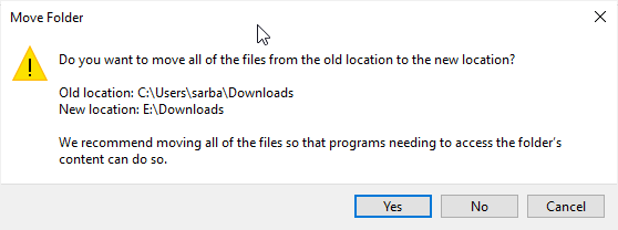 Confirm the new location for Download folder