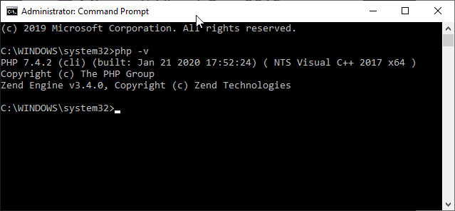 Check the PHP installation via Command prompt