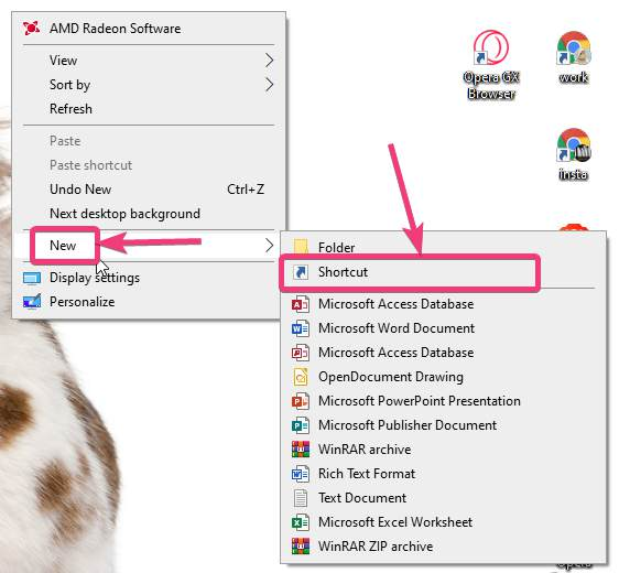 Create shortcut to power options on Windows 10 10
