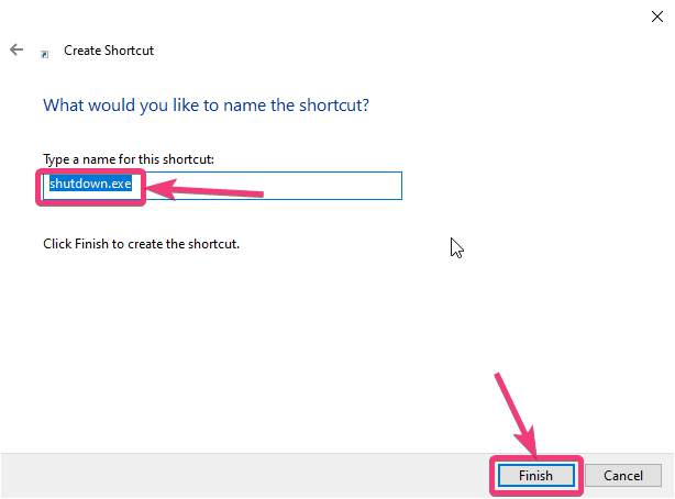Click Finish to create the shortcut