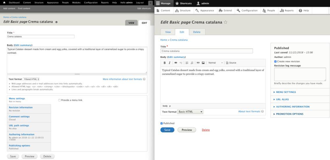 Drupal backend screenshot