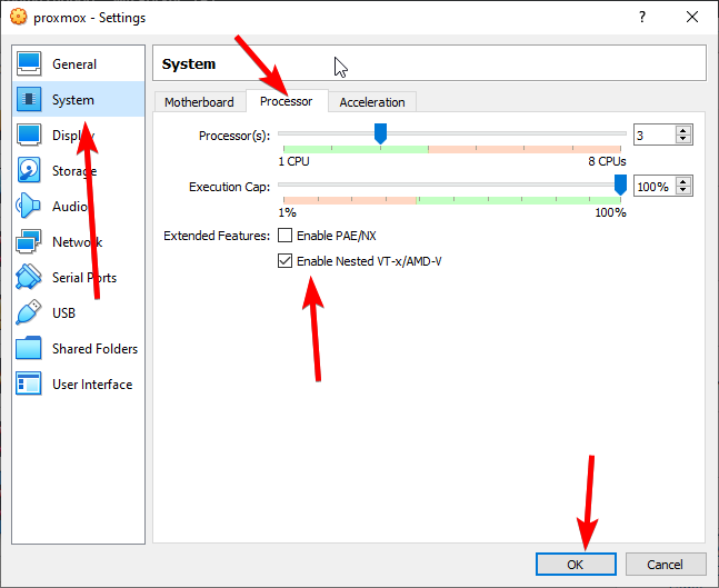 Enable nested VTXAmd-V option