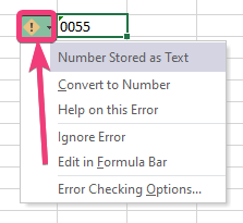 Enter zeros before numbers in Excel 30