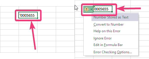 Microsoft Excel treat the data in that cell as text