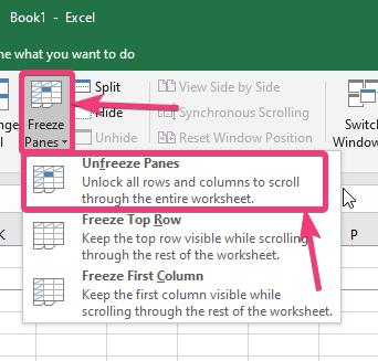 Unfreeze Panes' Microsoft Excel