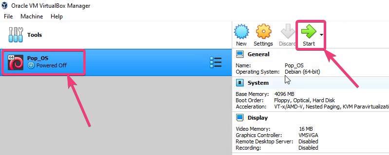 Start the PoP OS VM