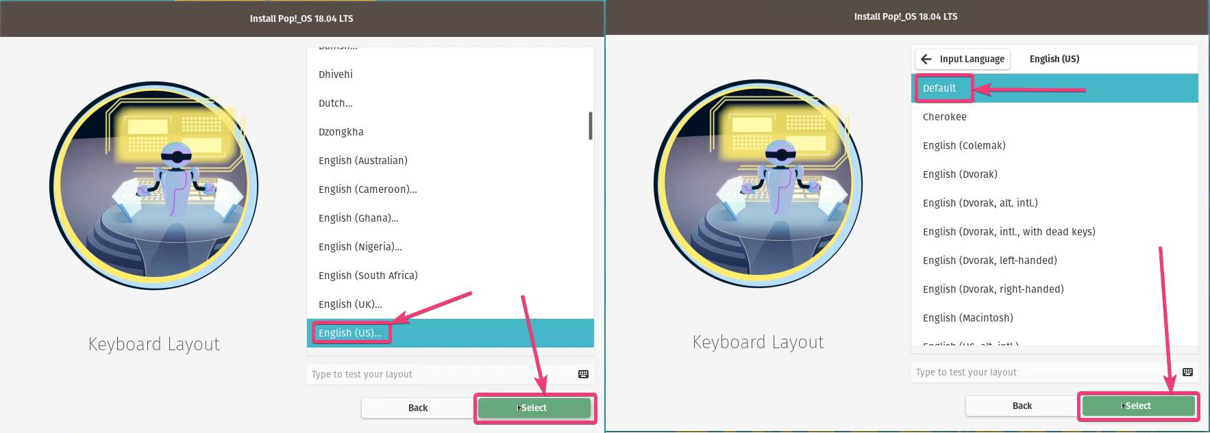 Choose the keyboard layout,