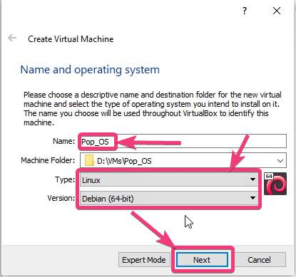 Name and operating system selection