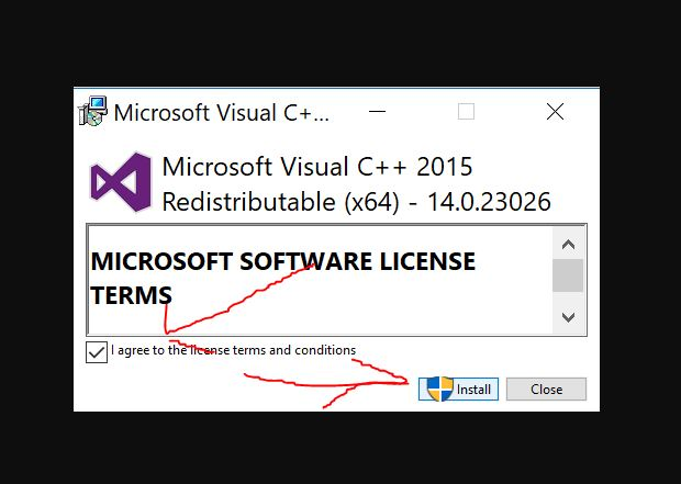 Install VC5 (Visual C++ Redistributable for Visual Studio)