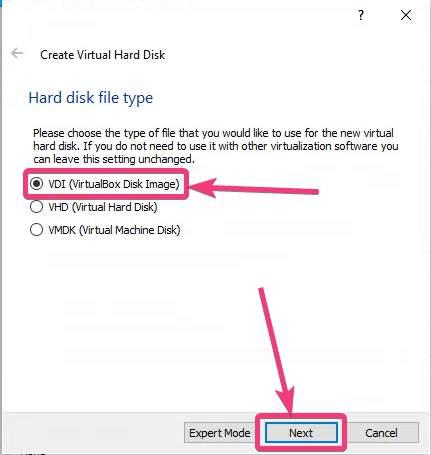 Choose the Hard disk file type