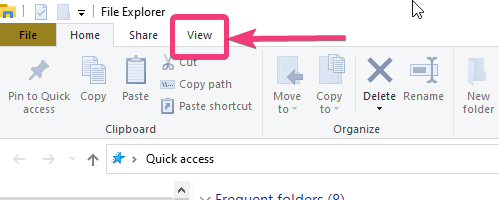 click on the 'View' tab on the window.