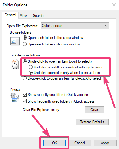 Open items with single click 30