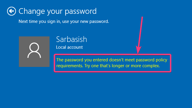 Password policy requirements windows 10