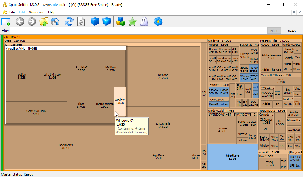 SpaceSniffer Treemap based disk analyzer tool