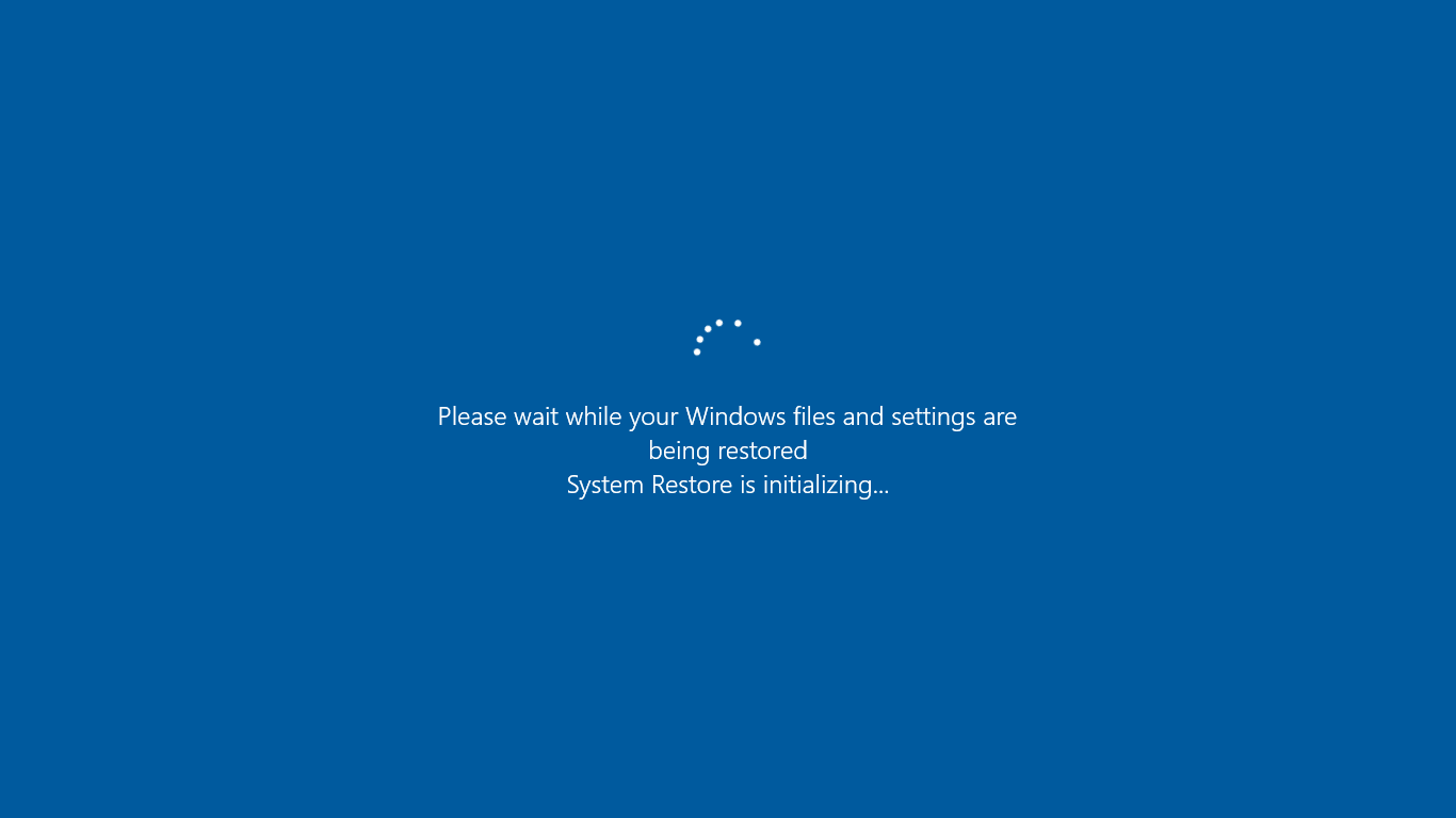 system restore operation is going on.