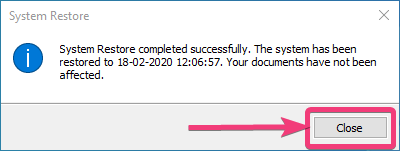 successfully completed creation of system restore