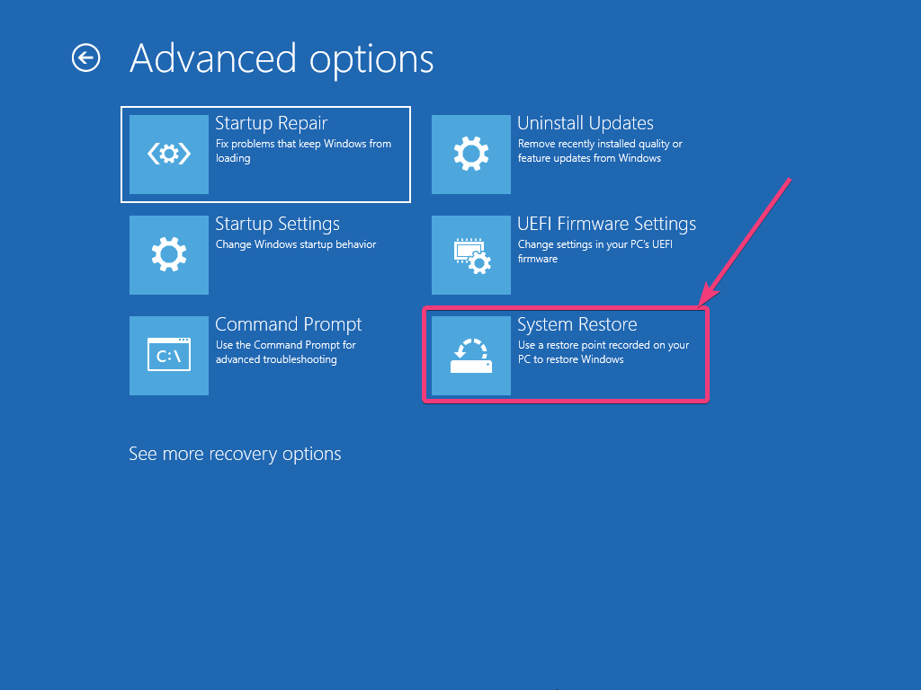 System Restore on Windows 10 160
