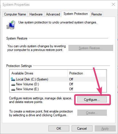 Configure System Restore on Windows 10
