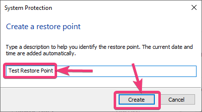 assign a name to the restore point