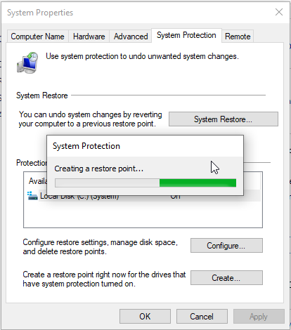 Process of creating restore point will begin
