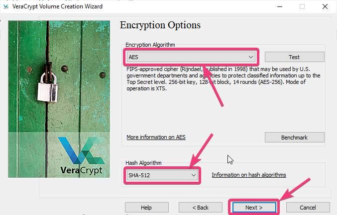 Select the VeraCrypt Encryption Algorithm