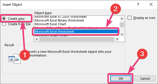 Select Microsoft Excel Worksheet