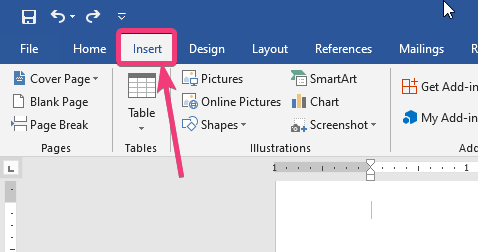 Select Insert tab of Microsoft